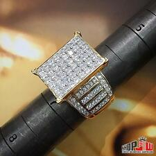 Yellow Gold Finish .925 Silver Mens Ladies Unisex Ring Micro Pave Hip Hop Style