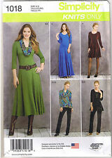 Stretch Knit Dress Tunic Pants Cowl Simplicity Sewing Pattern Size 6 8 10 12 14