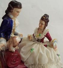 Vintage Authentic Dresden Germany Porcelain China Figurine Courtship & dog 6 x 6