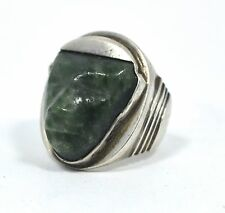 Old Mayan Jade Stone Head Silver Ring 1950s