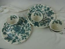 "Johnson Bros Green English Chippendale 10"" Snack Plates w/ Tea Cups - Set of (4)"