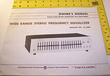 vintage Realistic owner's manual Stereo Equalizer ~ Tandy Radio Shack schematic