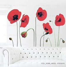 RED POPPY FLOWERS Wall Stickers Mural Art Decals Wallpaper Reusable&Transparent