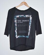 Shirt von Bershka, Gr. S, schwarz mit Print, Blumen, Materialmix, top Zustand