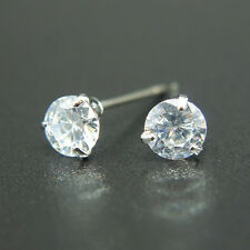 14k white Gold plated simulated Diamond stud men women solitaire unisex earrings
