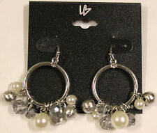 Lane Bryant Dangle Silver Tone Earrings with White and Sparkle Beads