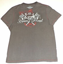"""AMERICAN EAGLE S/S GRAY T-SHIRT """" A.E YOUNG BLOOD"""" ON FRONT      M        K#6804"""