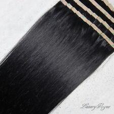 """55cm/22"""" 100% Remy Hair Echthaar Haarverlängerung Super Tape Extensions #1B"""