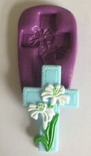 Holy Cross With Flowers Silicone Mould.wedding.christening.communion.cupcake.