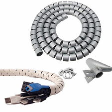 1.5cm 6in Dia (Gray) Flexible Cord Cable Wire Organizer Wraps Management Hiding