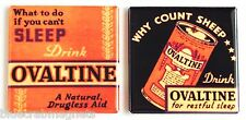 Drink Ovaltine FRIDGE MAGNET Set (2 x 2 inches each) can chocolate