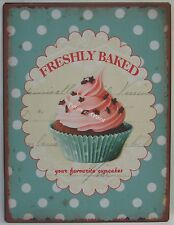 New Tin Sign Blue Freshly Baked Cupcakes Country French Provincial Rustic Style