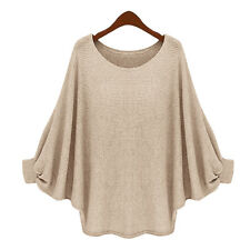 Women's Batwing Long Sleeve Knitted Pullover Casual Sweater Jumper Tops Knitwear