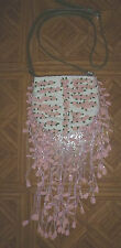 VALENTINO LINEN EVENING BAG PINK ROSETTES BEADS OLIVE LEATHER STRAP NWOT