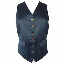 VIVIENNE WESTWOOD Vintage Blue Punk Vest with Gold Logo Buttons Size 42