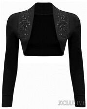 NEW LADIES BEADED LONG SLEEVE SHRUGS SEQUIN BOLERO CROP CARDIGAN TOP 8-14