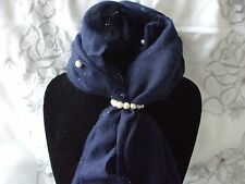 Scarf + Scarf Ring Gift Set Navy Pearl Beaded with Cream Pearl Ring in Gift Bag