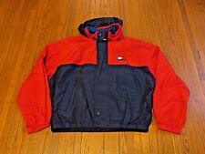 Men's VTG 90's Tommy Hilfiger Red Navy Spell Out Windbreaker Jacket sz XL