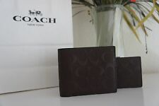 NWT COACH MENS~COMPACT ID WALLET SIGNATURE CROSSGRAIN LEATHER F75371 MAH