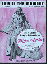 This is the Moment 1948 That Lady in Ermine Betty Grable Sheet Music