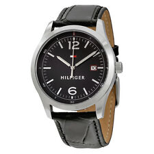Tommy Hilfiger Table Black Dial Black Leather Mens Watch 1710350