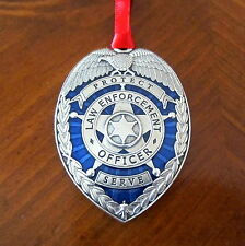 new! LAW ENFORCEMENT OFFICER BLUE ENAMEL PEWTER SHIELD CHRISTMAS ORNAMENT Police