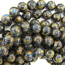 """12mm sapphire blue golden pressed jade round 7.5"""" strand"""