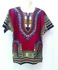 Unisex African Shirt caftan Dashiki Hippie Boho Men Women Plus Size Blouse Red