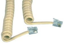 2M METRE 4P4C RJ9 RJ10 RJ22 MALE TO MALE TELEPHONE HANDSET SPIRAL BEIGE CABLE