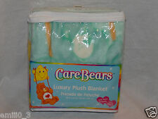 """NEW WITH TAG CARE BEARS LUXURY PLUSH BLANKET 30"""" X 43"""""""