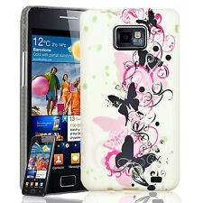 White Butterfly Case Cover For Samsung Galaxy S2 & Screen Protector