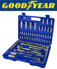 "Goodyear 94PC 1/2"" 1/4"" Socket Set & Screwdriver Bit Torx Ratchet Case Tool Kit"