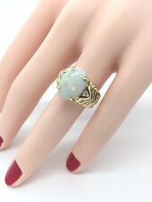 Estate 14.2 x 10.2mm Oval Fine Opal Diamond 14K Yellow Gold Ring Over 4 Carats
