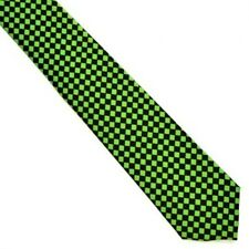 NEW Green Black and Fluorescent Green Checker Pattern Tie