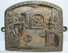 Antique Herring's FireProof Safe Bronze Plaque pat 1852 New York ornate *Rare