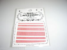 3D French Nail Tip Art stickers decals Wrap Dogtooth studs  Red