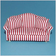 Two Seater Sofa in Red Stripes, Doll house furniture Miniature 1.12 Scale settee