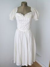 Vtg 70s Gunne Sax White Eyelet Lace Hippie Boho Festival Dress Off Shoulder S
