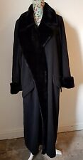 ESCADA MARGARETHA LEY  black WOOL & CASHMERE long line FURRY COLLAR coat 38 12