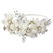Bridal Hair Band clear swarovski crystals, high quality fabric flowers wedding