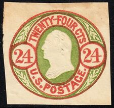 #U44 24¢ RED & GREEN, BUFF CUT SQUARE UNUSED CV $210 BT6357