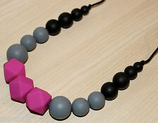 Mommy Baby Silicone Teething Nursing Necklace Teether Jewelry Black Magenta Pink