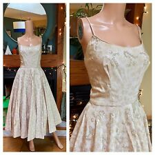 Vintage 50s Rappi Circle Skirt Swing Sequin Brocade Heavy Party Pinup Dress M