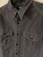 Ralph Lauren RRL Vintage 1930s Work Wear Slim Shirt Salt And Pepper L