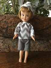 OOAK-Handmade-Clothes-for-Penny-Brite-Bright-Doll-Gray Short Set with Hat