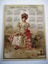 "Vintage Victorian 1900 Trade Card Calendar for ""John Wanamaker"" Woman & Kitten *"