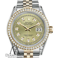New listing   		Rolex Stainless Steel - Gold 36 mm Datejust Watch Champagne String Diamond Dial