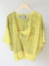 ANNTIAN GERMANY SOFT YELLOW SILK FUNKY DOT PRINT RETRO BOXY BLOUSE TOP SIZE M