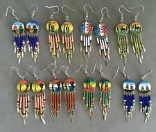 8 pairs colorful round ceramic long earrings handmade Peruvian alpaca silver