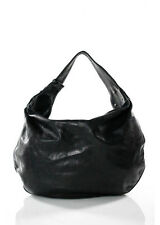 MARC JACOBS Black Textured Leather Stitch Detail Medium Hobo Handbag